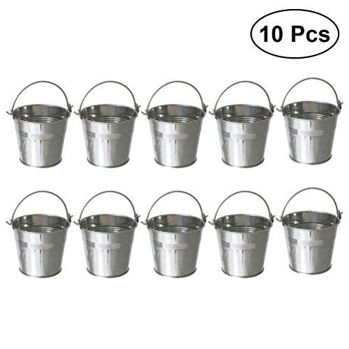 BESTONZON 10pcs Mini Weißblech Metalleimer Eiskübel Pommes Frites Blecheimer 10.5x7.2x10.5cm
