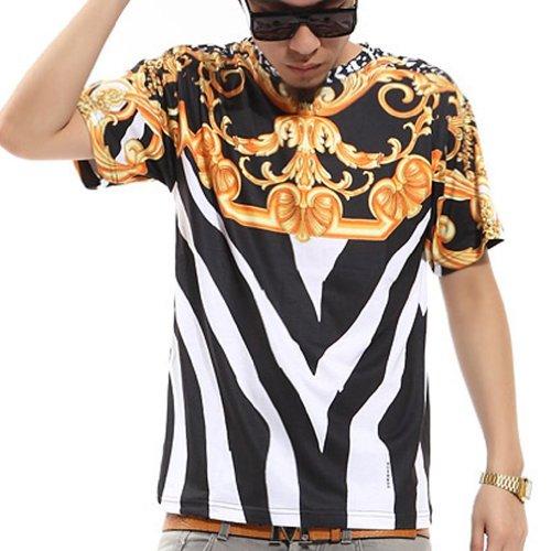 pizoff-unisex-hip-hop-myth-apollo-medusa-floral-and-plain-print-luxury-t-shirts-y0178-black-xl
