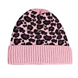 JMETRIC Damen Beanie Hat|Mütze Stricken|Strickmütze|einfarbig Gestrickte mütze|Gestrickt Verdicken Wintermütze|Leopardenmuster
