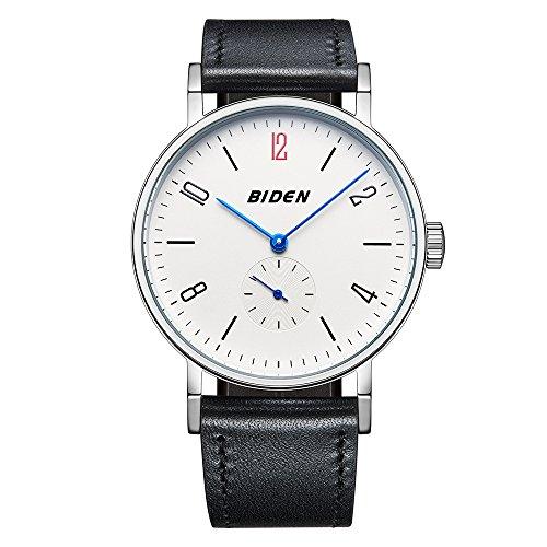 Uhr Herren Armbanduhr Analoge Quarzuhr Business Fashion Casual Luuxus Wasserdichte Uhren mit Echtem Lederarmband (Weißes Zifferblatt mit schwarzem Armband)