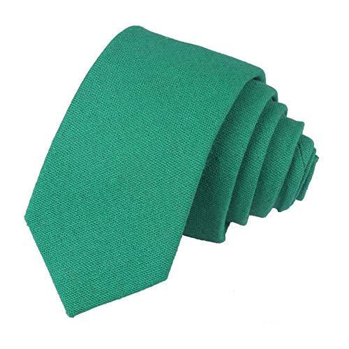 Ctskyte Herren Krawatte aus Baumwolle/Leinen, klassisch, schmaler Schnitt - Grün - Einheitsgröße