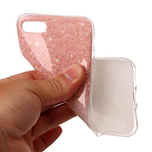 Custodia iPhone 7, ISAKEN Cover per Apple iPhone 7 [TPU Shock-Absorption] - Marmo Modello Naturale Custodia Soft TPU Sottile Custodia Case Morbido Protettiva Bumper Caso, Viola Rosa bianco