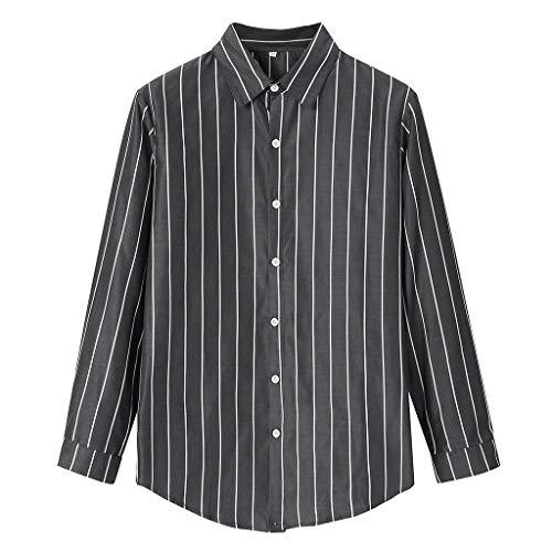 Setsail Herrenmode Bambus Baumwolle Langarm Revers gestreiftes Hemd Casual Top Bluse Freizeithemd - Bambus Ärmellose Bluse