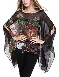 DJT T-shirt Imprime Tops Manches Chauve-souris en Tulle pour Femme