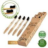 Cepillo Dientes Bambu Bio White, Paquete de 4 Cepillos de Dientes de Bambú, 100% Libre de BPA,...