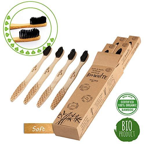 4 Cepillos Bio White dentales blanquadores de Bambu puro, Biodegradable. Recomendados por Dentistas de todo el mundo. Cerdas Negras de Carbon de Bambu con efecto blanqueador libres de BPA (Soft)