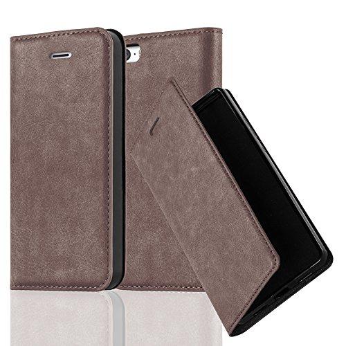 Cadorabo Hülle für Apple iPhone 5 / iPhone 5S / iPhone SE - Hülle in Kaffee BRAUN – Handyhülle mit Magnetverschluss, Standfunktion & Kartenfach - Case Cover Schutzhülle Etui Tasche Book Klapp Style