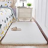 Lnxd Plüsch Schlafzimmer Bett Reine Farbe Teppich Für Das Kinderzimmer Boden Matte 160 X 80 Cm, Weiss