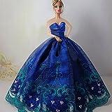 Yacool 1 PCS haute qualité de broderie de mariage Parti robe Robes et Vêtements pour Barbie Doll- Bleu