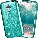 moex Samsung Galaxy S4 Mini | Hülle Silikon Türkis Brushed Back-Cover TPU Schutzhülle Ultra-Slim Handyhülle für Samsung Galaxy S4 Mini Case Dünn Silikonhülle Rückseite Tasche