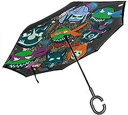 Ninja Squad Teenage Mutant Selbstmord Schildkröten Double Layer Inverted Umbrella für Auto Reverse Folding Upside Down C-förmige Hände - Leicht Winddicht