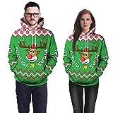 TEBAISE Unisex Realistische 3D Druck Weihnachten Pullover Kapuzen Sweatshirt Kapuzenpullis mit großen Taschen Damen uhd Herren Weihnachtssüßigkeit Geschenk Pullover Fleece Hoodie(B-Grün,EU-40/CN-M)