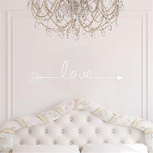 Preisvergleich Produktbild FEITONG Love Arrow DIY Dekoration Aufkleber Aufkleber Schlafzimmer Wände Dekor (58*14CM, Weiß)