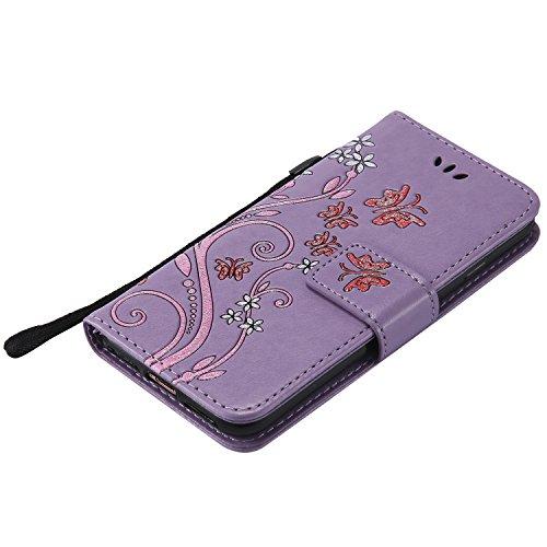 iPhone 6sPlus Lederhülle, iPhone 6Plus Handytasche, CLTPY Ständer Folio Brieftasche Luxus Malereifarbig Schutzfall mit Karteneinschub & Magnetverschluß, Premium PU Leather Case für Apple iPhone 6Plus/ Lila 1