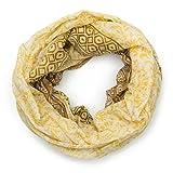 MANUMAR Loop-Schal für Damen | Hals-Tuch in gelb mit Ornament Motiv als perfektes Herbst Winter Accessoire | Schlauchschal | Damen-Schal | Rundschal | Geschenkidee für Frauen und Mädchen