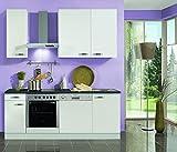 Küchenblock mit Geschirrspüler und Glaskeramikkochfeld Lagos 210 cm in weiß glänzend
