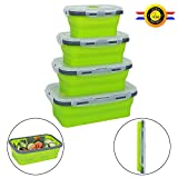 Qimh 4 Pack Collapsible Food Storage Containers,Silicone Collapsible Lunch Bento Box (B-4)