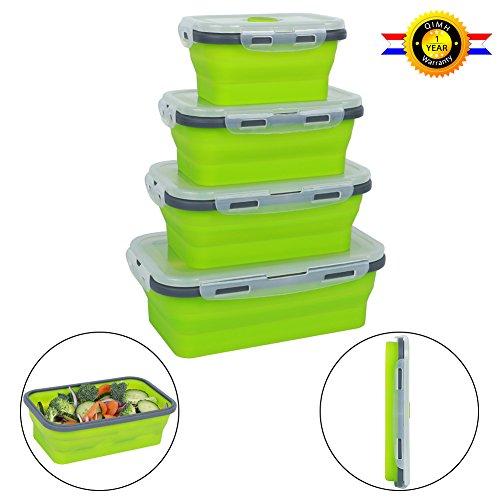 qimh 4 Pack Flat Stacks klappbar Frischhaltedosen, Silikon Faltbare Lunch Bento Box (B-4) (Behandeln Fleck Super)