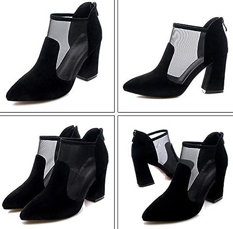 Beauqueen Pump Spitz-Zunge Organza Frauen Sommer Chunky Mid Heel Elegante Schuhe Dunkelgrün Schwarz Europa Größe 34-39 , black , 36