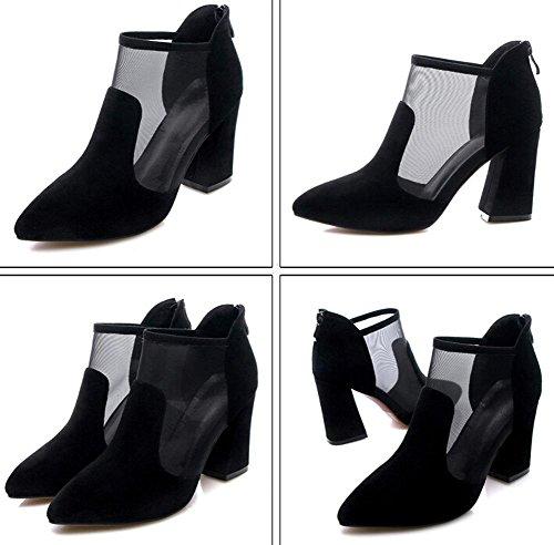 Beauqueen Pump Spitz-Zunge Organza Frauen Sommer Chunky Mid Heel Elegante Schuhe Dunkelgrün Schwarz Europa Größe 34-39 Black