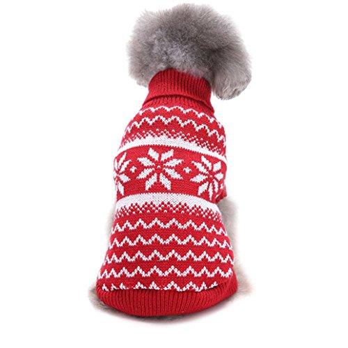 Weihnachten Haustier Sweater Kleidung, Hmeng Hund Kapuzenpullis Pullover Schneeflocke Haustier Hoher Kragenpullover Welpen stricken Strick Warme Jumpsuit Kleidung Outwear für den Winter (S, (Für Kostüme Mädchen Halloween Kälte)