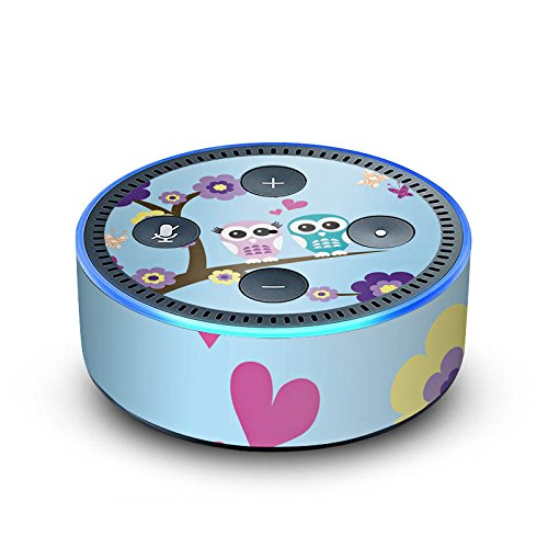 amazon Echo Dot 2.Generation Folie Skin Sticker aus Vinyl-Folie Eule Owl Blumen
