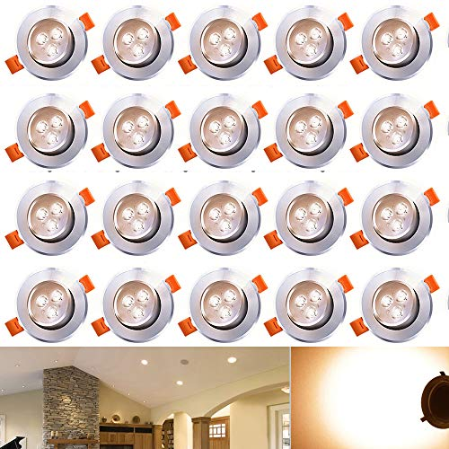 Aluminium-wärme-lampe (Hengda® 20 x 3W LED Einbauleuchte Wohnzimmer Decken Leuchte Lampe Spot Strahler Set 2800-3200k Warmweiß 85-265V AC)