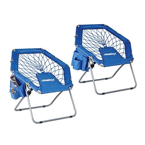 2x Bungee Stuhl WEBSTER, Trampolinstuhl, elastisch, Federung, faltbar, bis 100 kg, Seitentasche, Klappstuhl, blau (Teen Stühle Gaming Für)