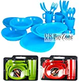 26 Piece Plastic Picnic Camping BBQ Party Dinner Plate Bowl Mug Cutlery Set