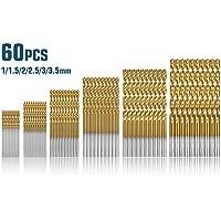 Qibaok 60 Pcs Forets hélicoïdaux, Forets HSS titanium Micro Drill Forets Bits métrique HSS haute vitesse en acier 1/1.5/2/2.5/3/3.5mm Drill Set micro mèche set outils