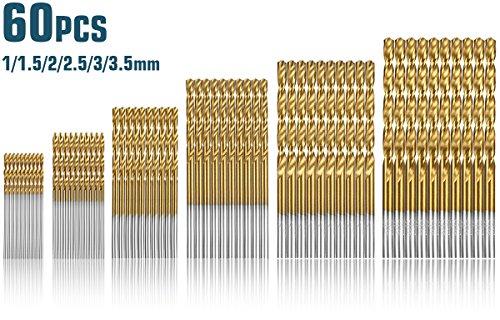 60 Stück HSS Micro Bohrer Set Qibaok mit Titanbeschichtung