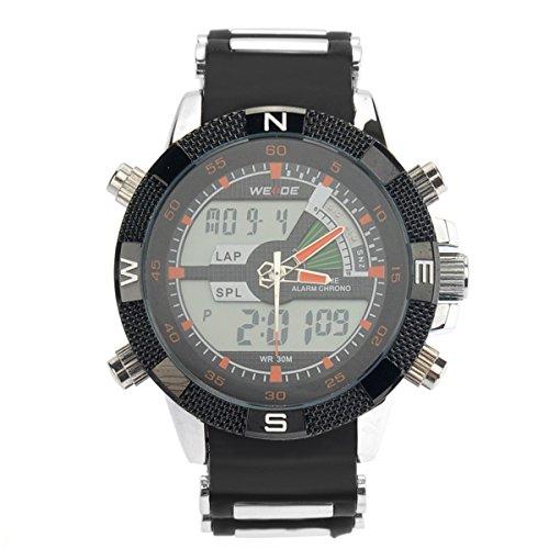 PIXNOR Wasserdichte WEIDE-WH-1104-Männer zwei-Zeitzonen-Sport-LED Digital Quarz-Armbanduhr mit Datum Stoppuhr Alarm Kautschukband (Orange)