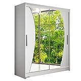 Modernes Schwebetürenschrank Westa X Kleiderschrank mit Spiegel, Schlafzimmerschrank, Schiebetürenschrank, Garderobe, Schlafzimmer (Weiß)