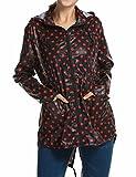 ZEARO Damen Regenmantel Regenjacke Trenchcoat Wasserdicht Parka Regencape Regenponcho,schwarz rot gepunktet, XL(EU48-50)