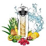 Jaetech House Trinkflasche mit Früchtebehälter 1L BPA-frei Tritan Wasserflasche