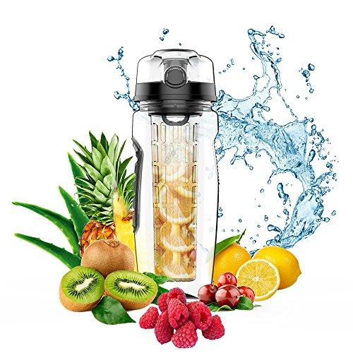 Tritan Wasserflasche BPA-frei Trinkflaschen mit Fruchteinsatz 32OZ /1 Liter (Black) (Aroma-wasser-flasche)