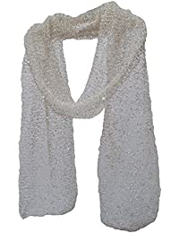 Glimmer Beaded Mesh Net Scarf Stole Wrap Shawl Champagne Ivory White Pink