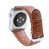 Qiy Kompatibles Rindsleder Echtlederarmband 38mm / 42mm für Apple Watch Strap-Armband für iWatch Serie 1/2/3 Universal, Hellbraun/Dunkelbraun,Lightbrown,42mm