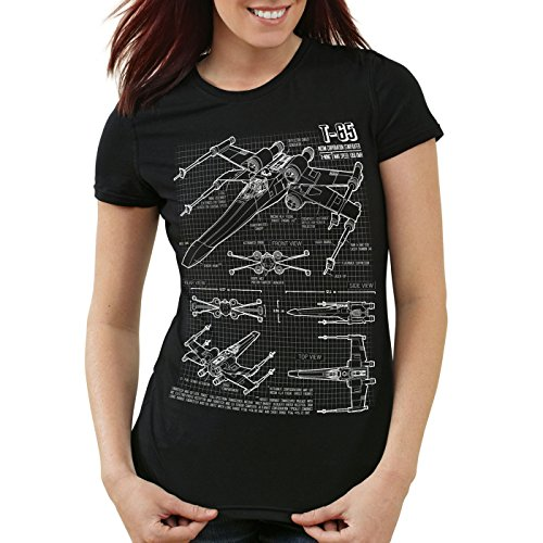 style3 X-Wing Damen T-Shirt Blaupause t-65, Farbe:Schwarz, Größe:M (Vader Ausgeschnitten Darth)