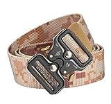 Longwu Cintura tattica Cobra da uomo Cintura in tessuto resistente Cinture in nylon stile militare regolabili con fibbia in metallo a sgancio rapido Camuffamento nel deserto