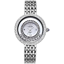 LONGBO Womens Fashion Roman Numral Crystal Rhinestone Accented Big Face Case Lady Dress Watch Silver Bracelet Wrist Watches Girl Analog Quartz Full Stainless Steel Bangle Watches