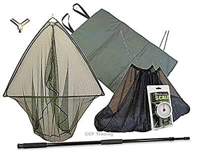 "42"" Carp Fishing Landing Net, 2m Handle & Unhooking Landing Mat Sling Scales Grn Mb by NGT"