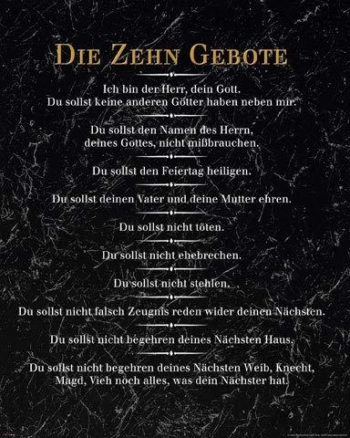 empireposter Die 10 Gebote - Schwarz - Inspirations Mini Poster Plakat Druck - Größe 40x50