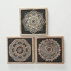 Home Collection Hogar Decoración Accesorios Ornamento Obras Arte Juego de 3 Marcos Motivo Mandala 20 x 20 cm