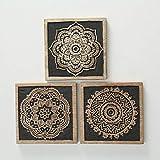 Home Collection Casa Decorazione Accessori Arte Stampa Set di 3 Quadri Motivo Mandala 20 x 20 cm