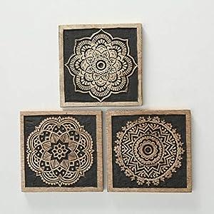 CasaJame Wanddeko Mandala orientalisch, Wandbilder Ornamente, Holz Wandschmuck im 3er-Set, 20x20cm