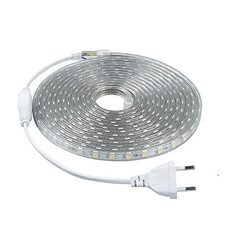 Minger LED Lichtband Warmweiß 5M/16.4ft LED Streifen 2835 SMD Wasserdicht LED Leisten mit EU Stecker für zu Hause Küche Festival Beleuchtung Dekoration(220V) [Energieklasse (Küche Indirekte Beleuchtung)