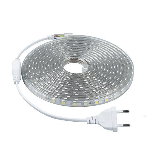 Minger LED Lichtband Warmweiß 5M/16.4ft LED Streifen 2835 SMD Wasserdicht LED Leisten mit EU Stecker für zu Hause Küche Festival Beleuchtung Dekoration(220V) [Energieklasse A+]