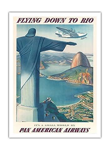 L'avion Pour Rio Brésil - Pan Voies Aériennes Américaines (PAA) - Christ La Statue De Rédempteur - Airline affiche vintage de voyage Vintage Airline Travel Poster by Paul George Lawler c.1930s - Prime 290gsm Giclée Imprime - 91cm x