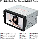 "KKmoon 7"" HD Reproductor Multimedia DVD CD Estéreo 2 Din Bluetooth Pantalla Táctil Radio Entretenimiento USB/TF FM Aux Entrada TV Control de Volante"